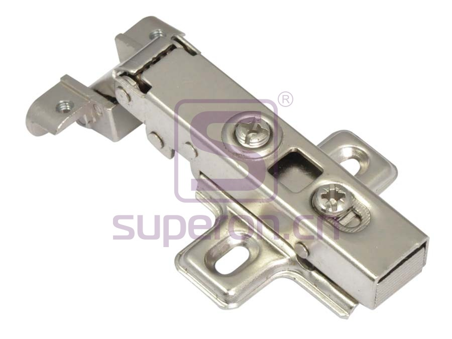 Soft-closing hinge for alu, clip-on