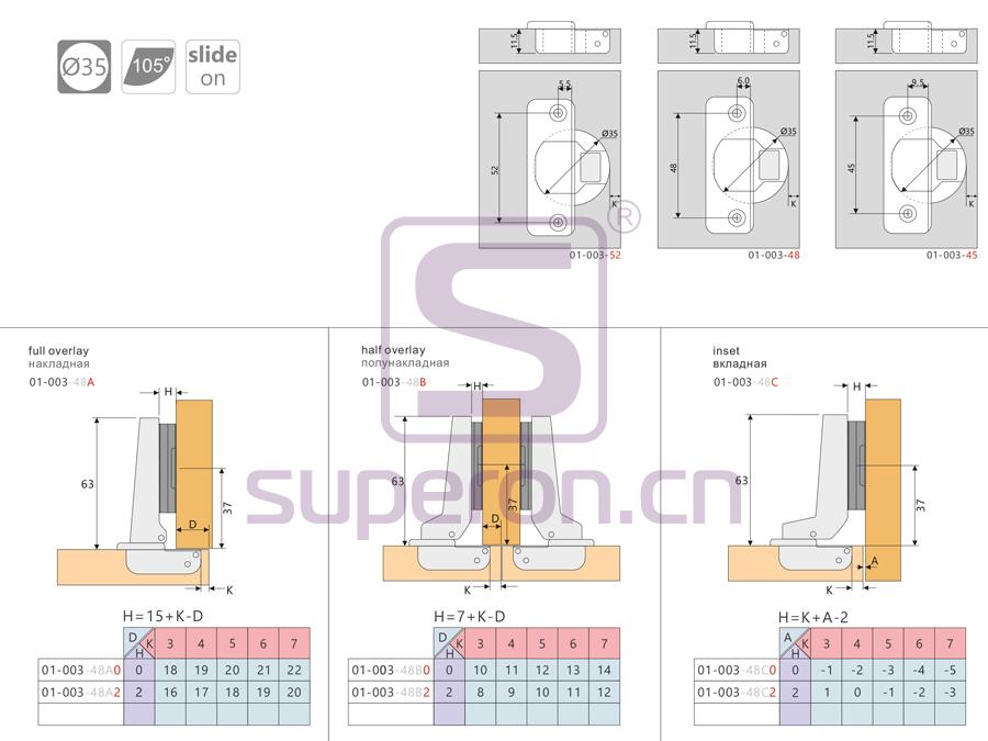 01-003-q | Concealed hinge, slide-on