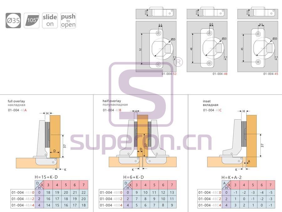 01-004-q | Push-to-open hinge, slide-on