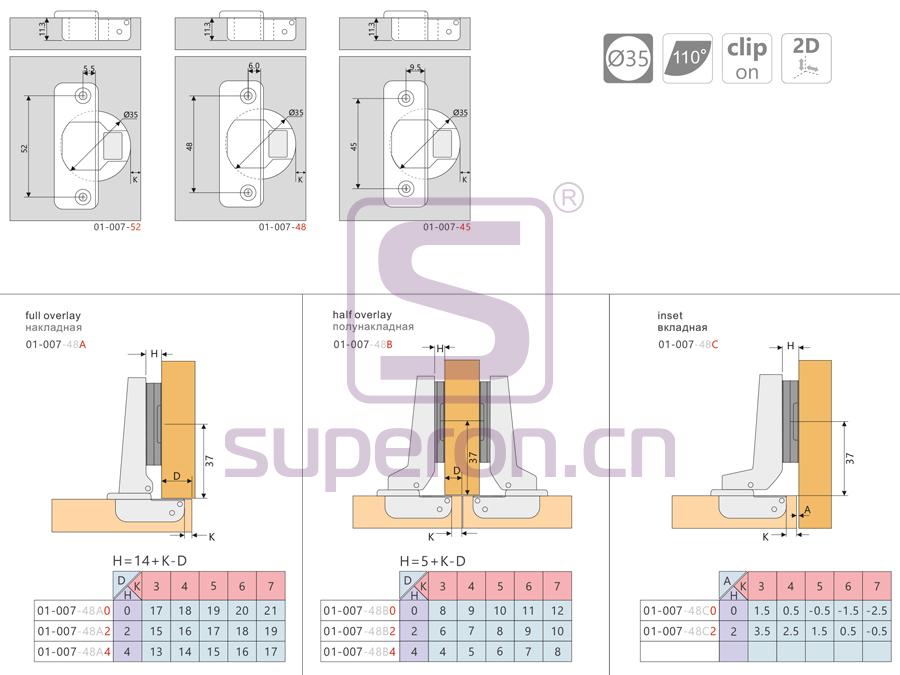 01-007-q | Short hinge, slide-on, d35