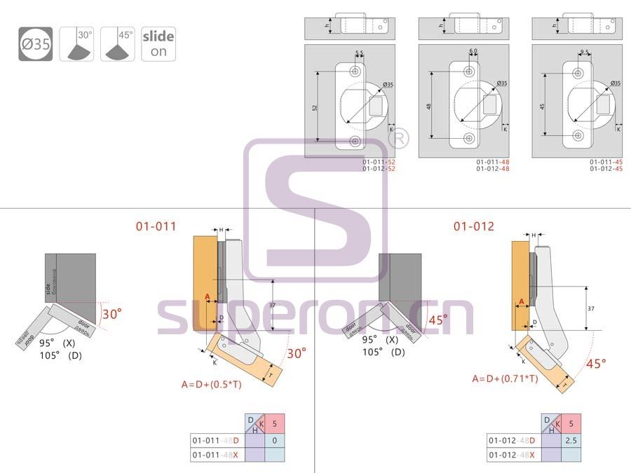 01-012-q | 45° hinge, slide-on