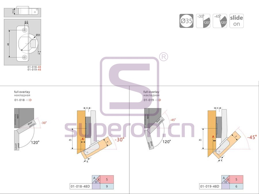 01-019-q | Angled hinge, -45°