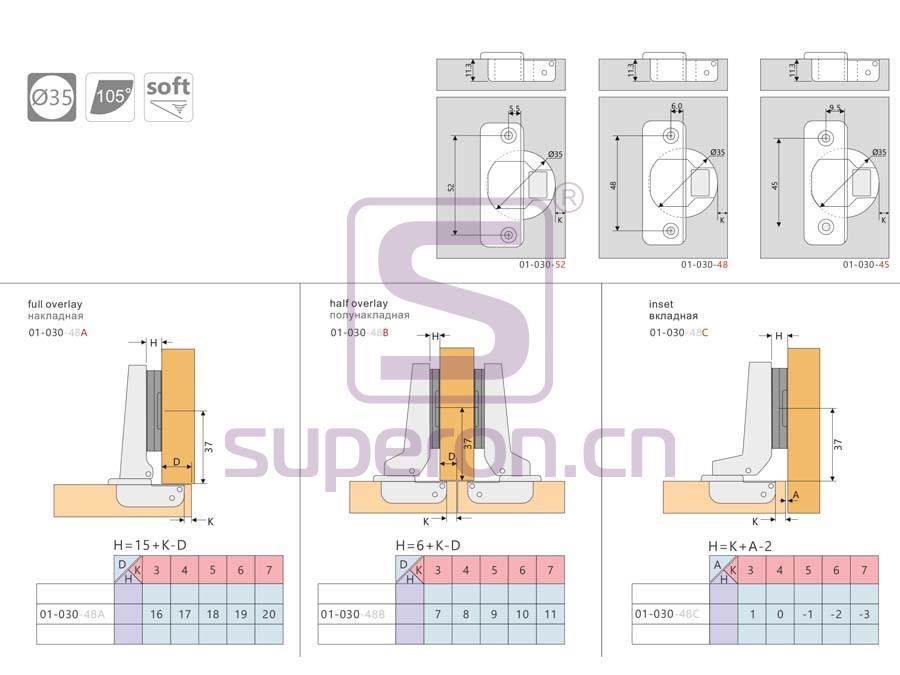 01-030-q | Soft-closing hinge, inseparable