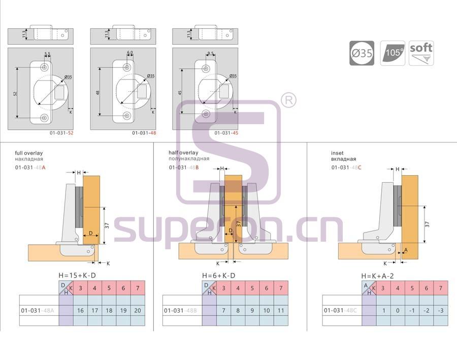 01-031-q | Soft-closing hinge, inseparable
