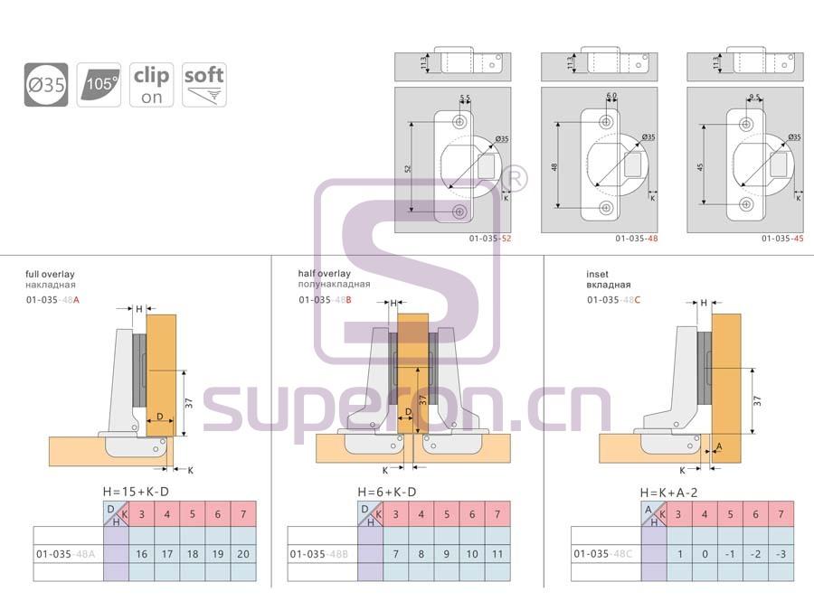 01-035-q | Soft-closing hinge, clip-on