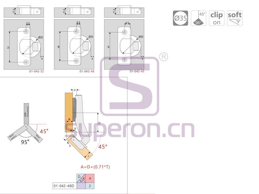 01-042-q | Soft-closing hinge, 45°, clip-on