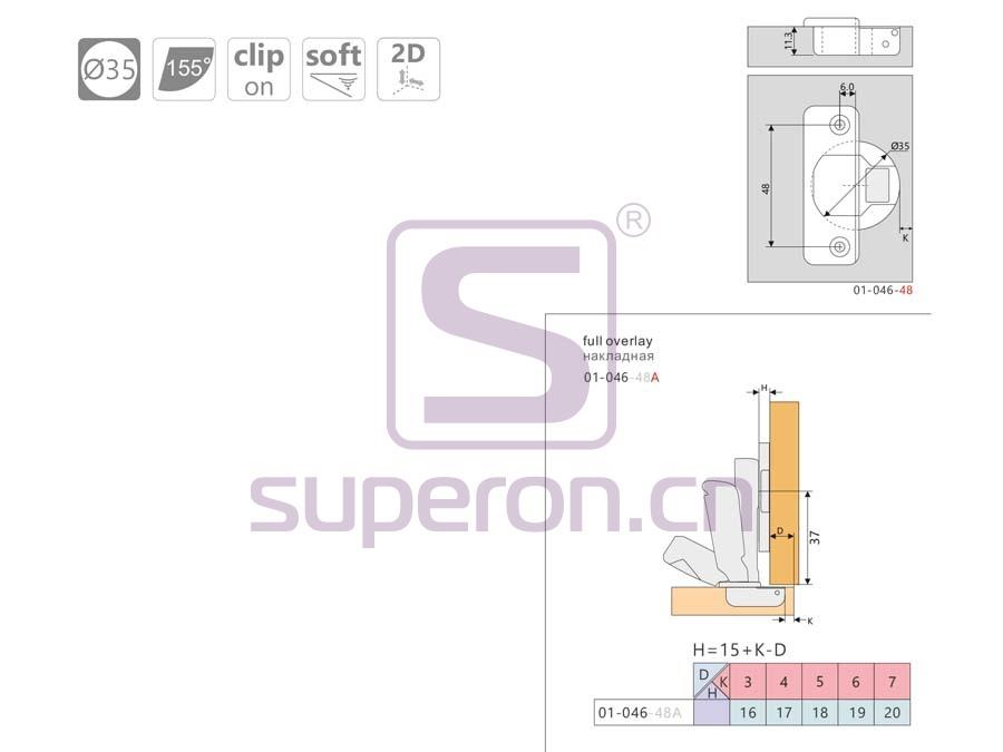01-046-q | Soft-closing hinge, 155°, 2D