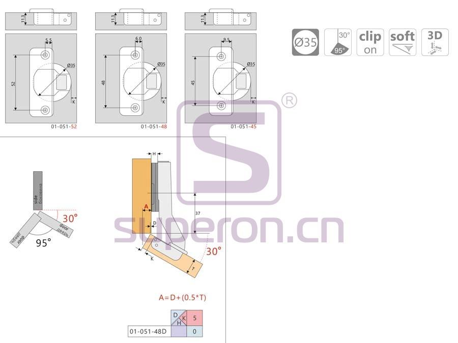 01-051-q | Soft-closing hinge, 30°, 3D