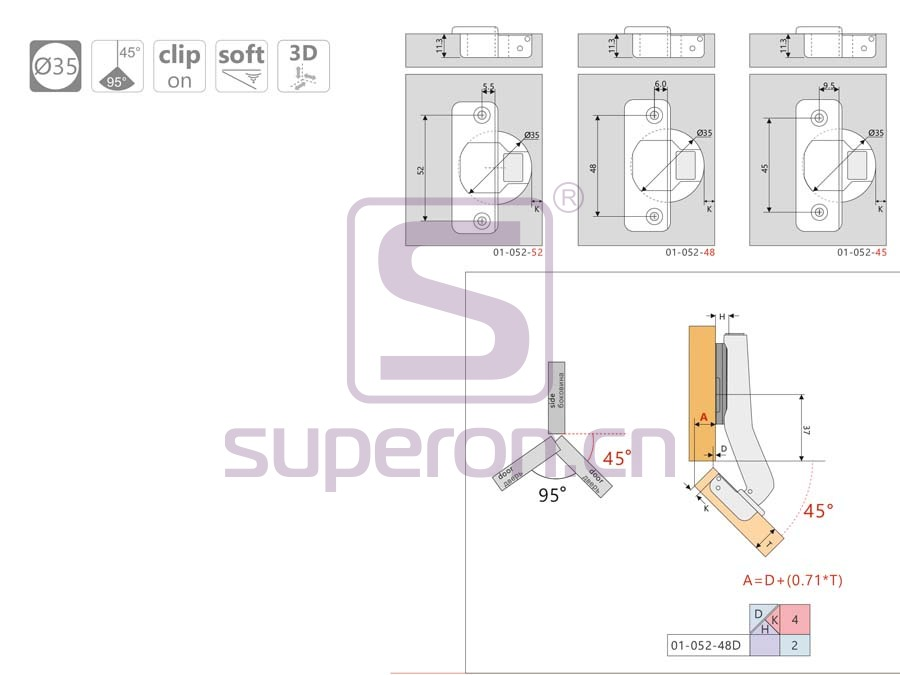 01-052-q | Soft-closing hinge, 45°, 3D
