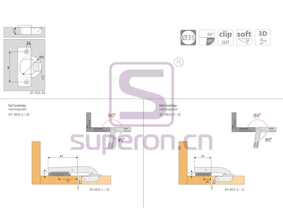 01-053-q | Soft-closing hinge, 90°, 3D