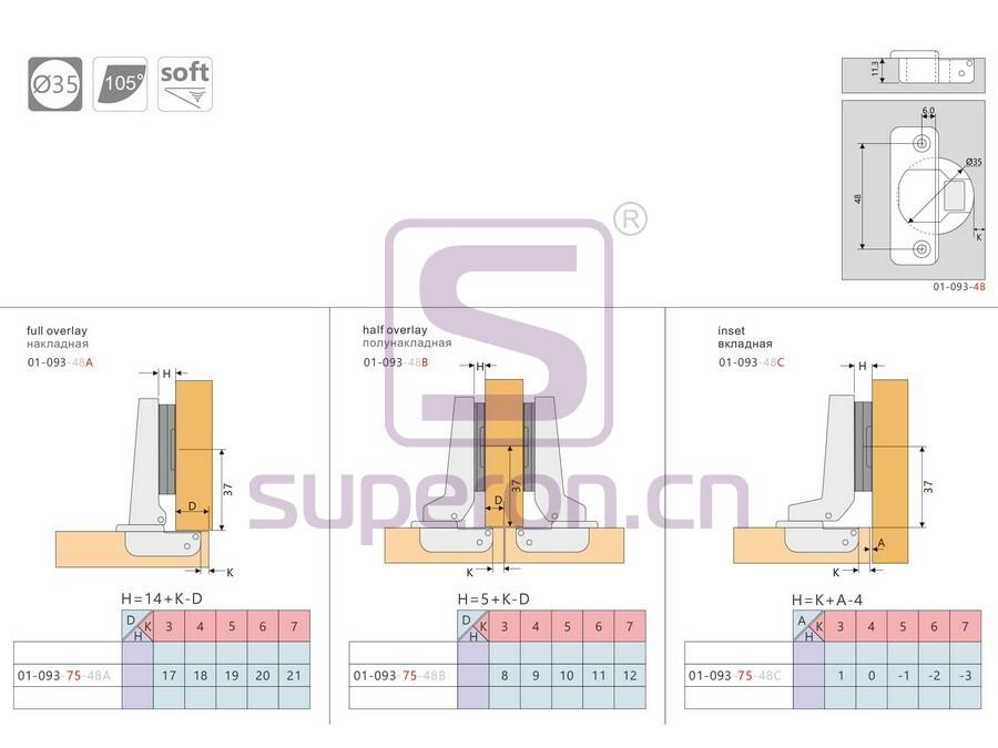 01-060-q | Soft closing hinge (steel clip-on)