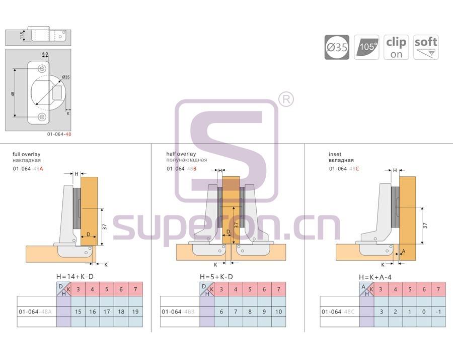 01-064-q | Soft-closing hinge, clip-on