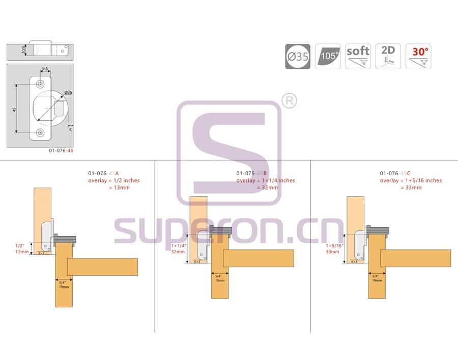 01-076-q   Short soft-closing hinge