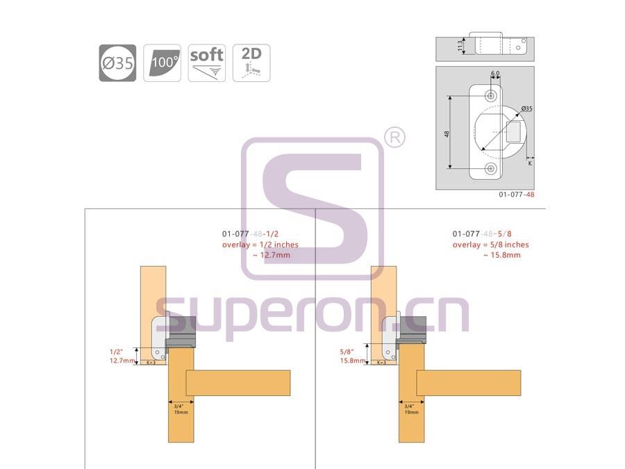 01-077-q | Short soft-closing hinge, 2D