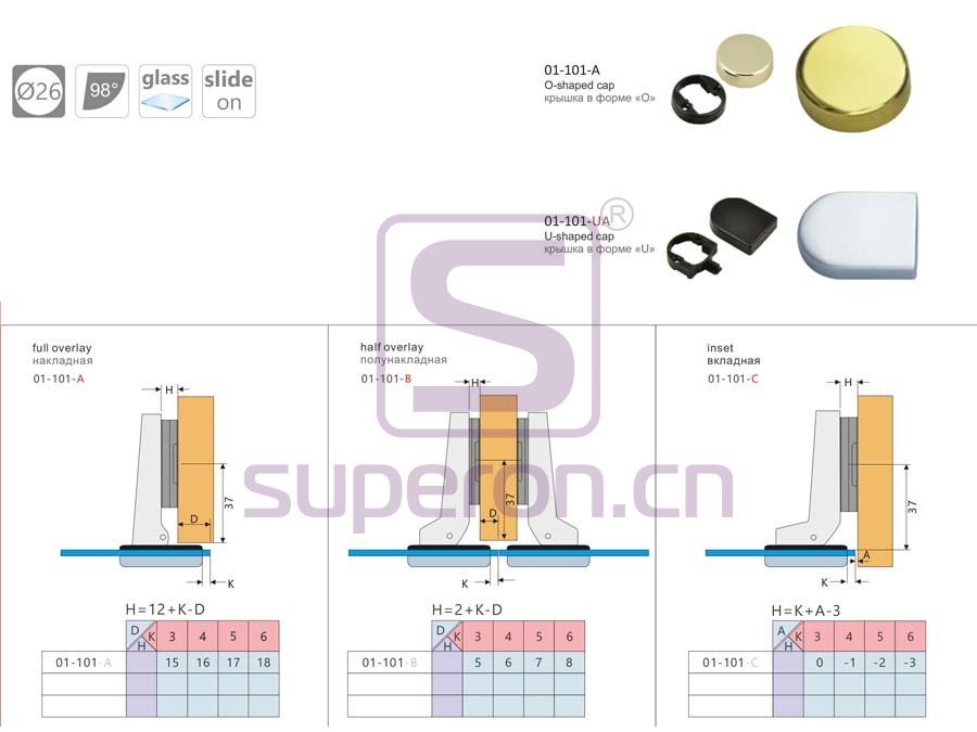 01-101-q | 26mm hinge for glass doors