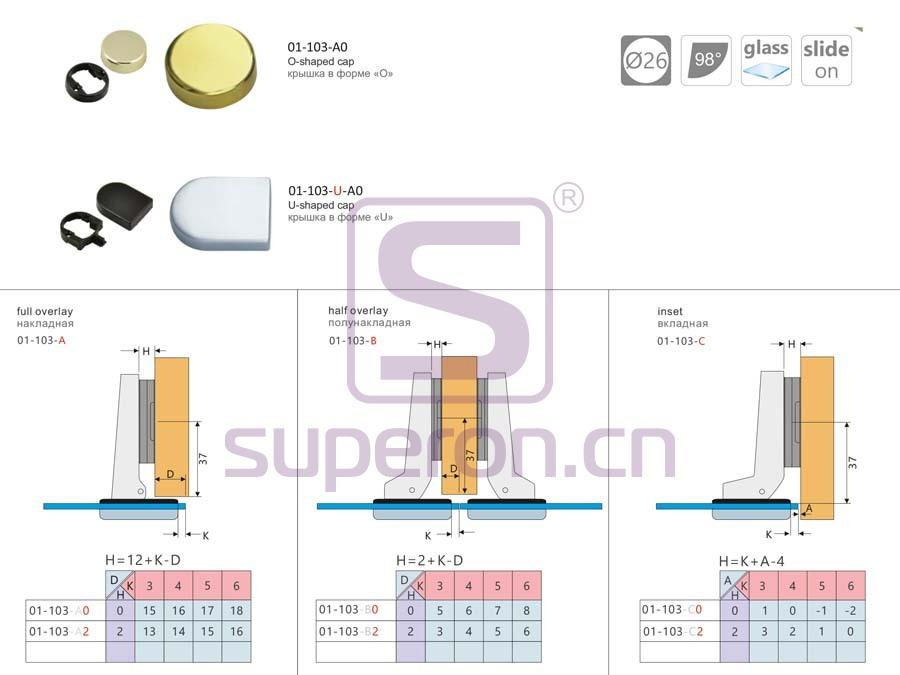 01-103-q | 26mm hinge for glass doors
