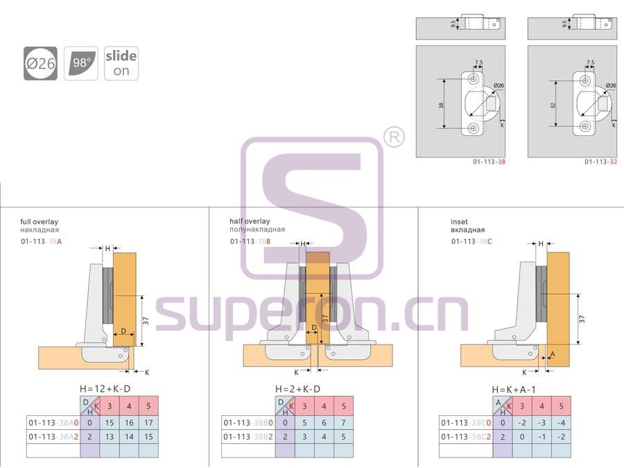 01-113-q | Hinge 26mm, slide-on