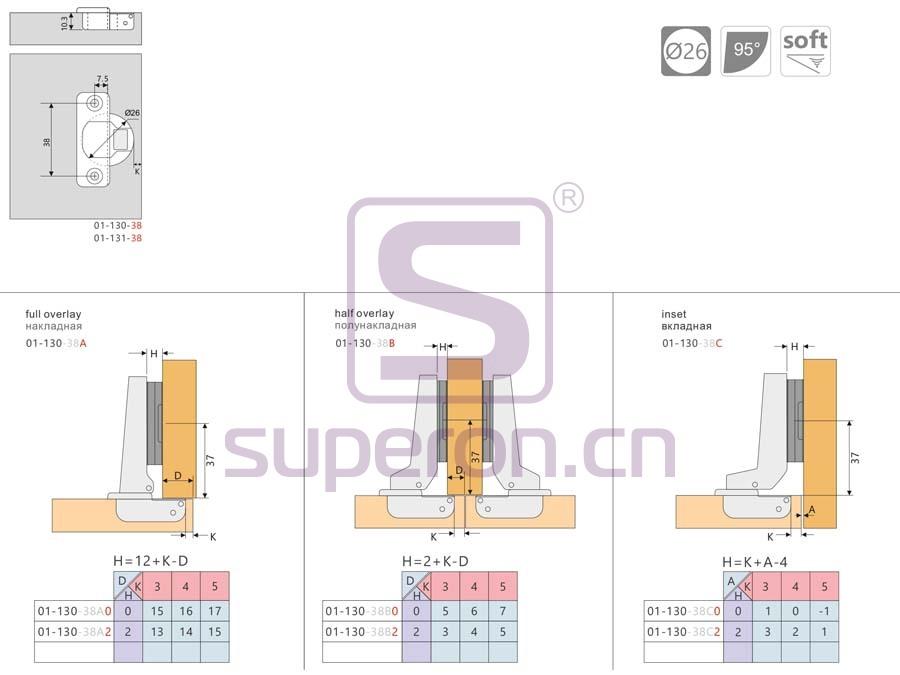 01-131-q   Hinge 26mm, soft-closing, short