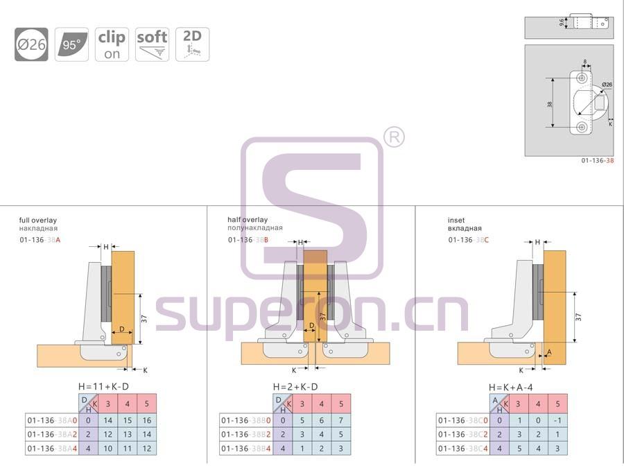 01-136-q | Hinge 26mm soft-closing, 2D