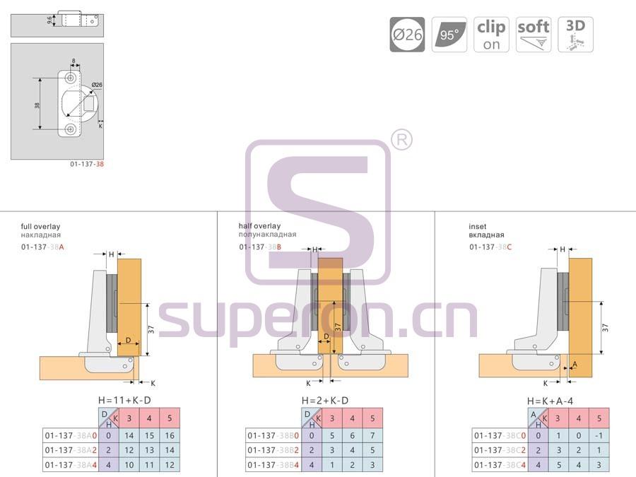 01-137-q | Hinge 26mm Soft-closing hinge 3D