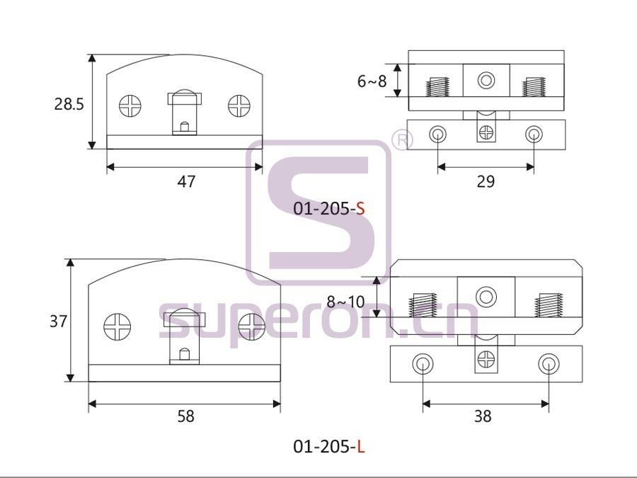 01-205-q | Hinge for folding doors