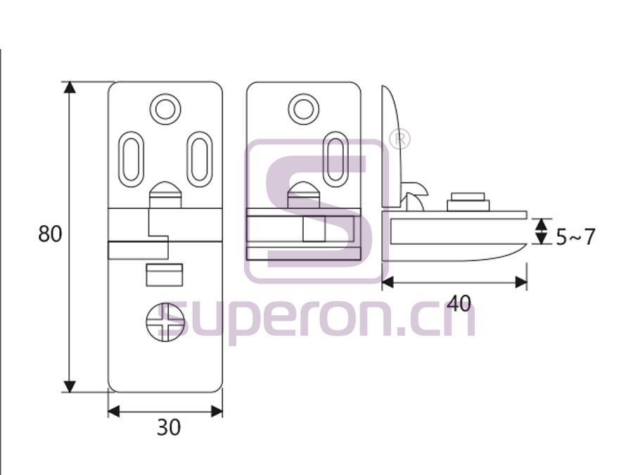 01-212-q   Hinge for glass door