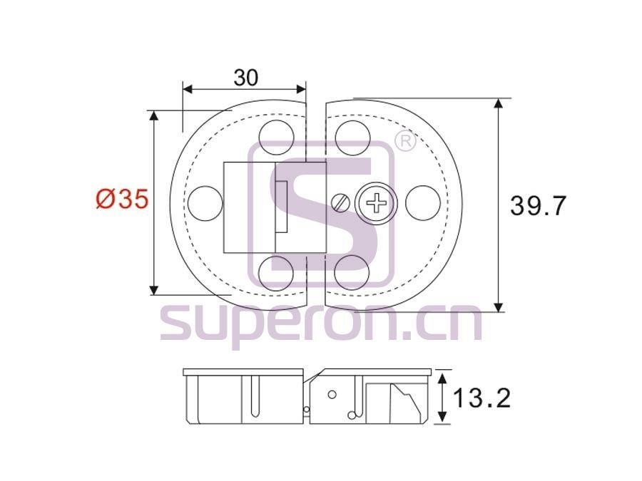 01-323-q | Flap hinge, D35mm