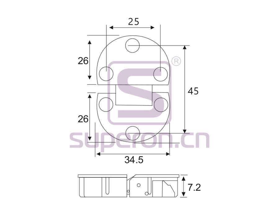01-324-q | Flap hinge, D35mm
