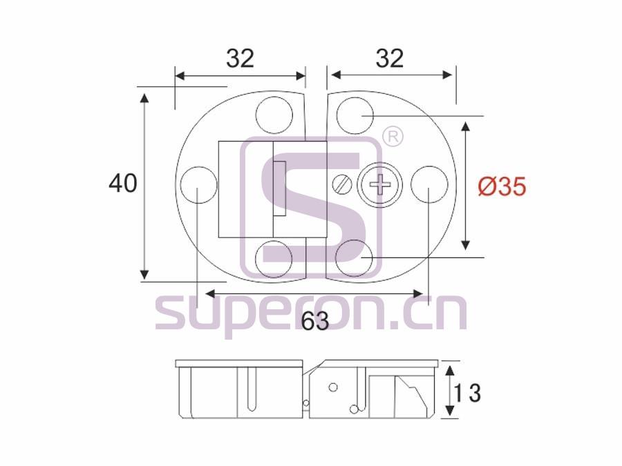 01-325-q | Flap hinge, D35mm