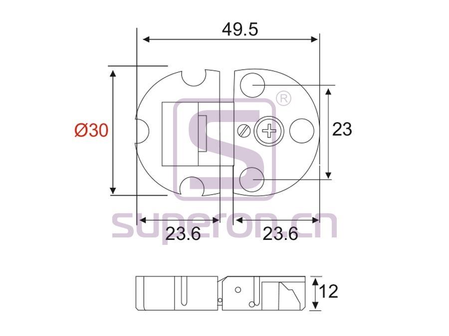 01-326-q   Flap hinge, D30mm