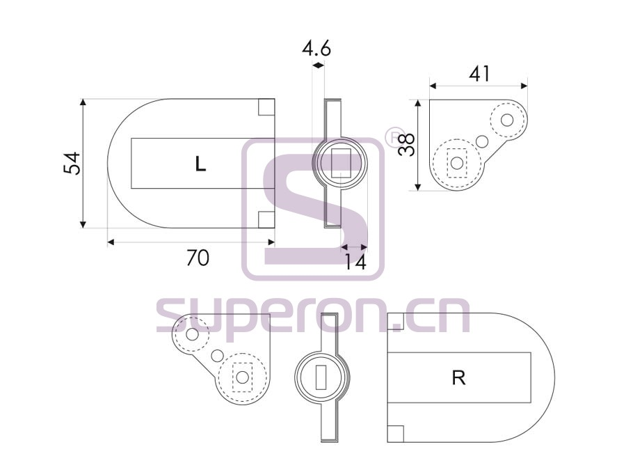 01-390-L-q   Hinge for table, soft-closing