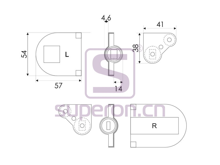 01-390-S-q   Hinge for table, soft-closing