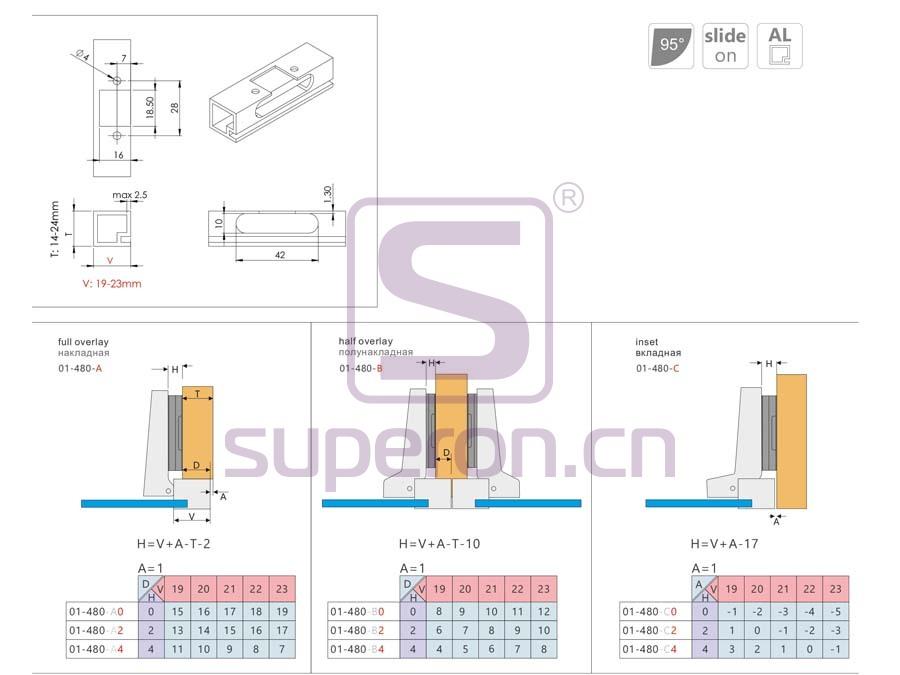 01-480-q | Hinge for aluminium, slide-on