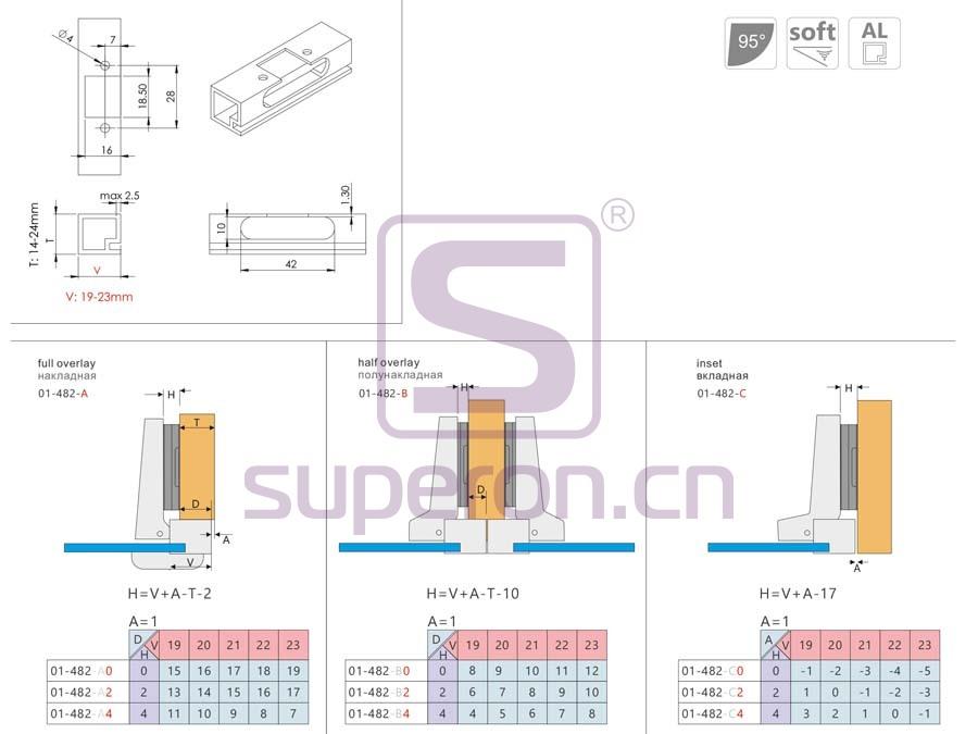 01-482-q | Soft-closing hinge for alum, fixed