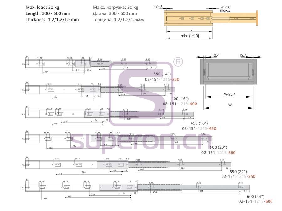 02-151-q | 45mm push-to-open sliders