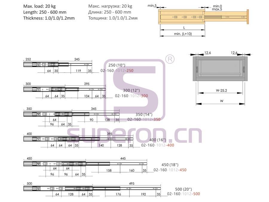 02-160-q | 35mm soft closing full ext.sliders