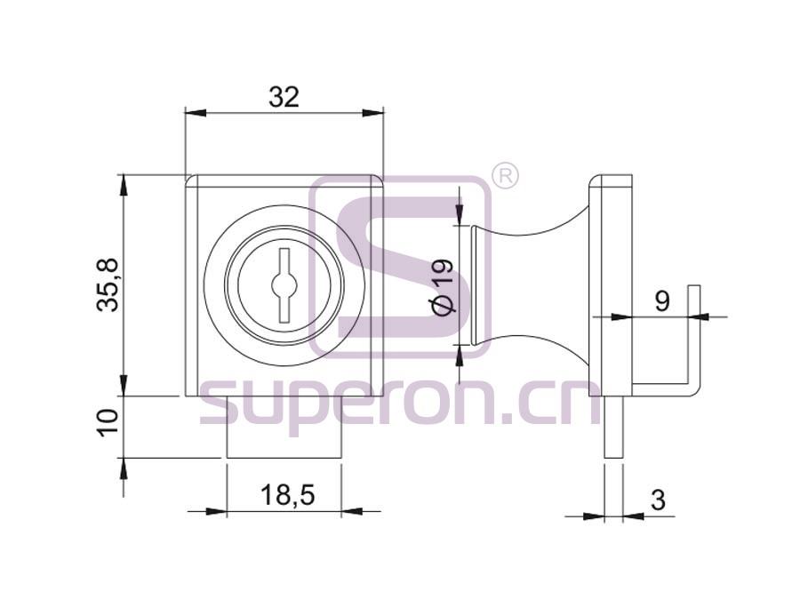 03-021-q   Glass lock #407 with master key