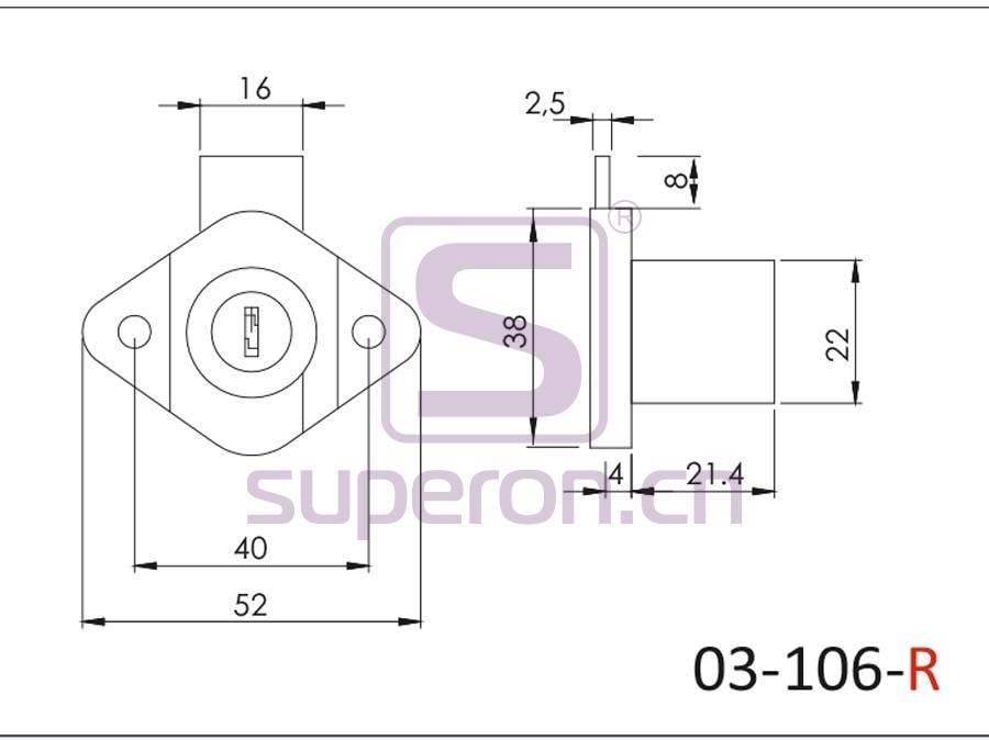03-106-R-q | Furniture lock, #106
