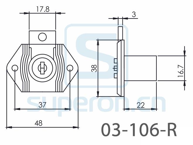 03-106-R2-x1 | Furniture lock, #106