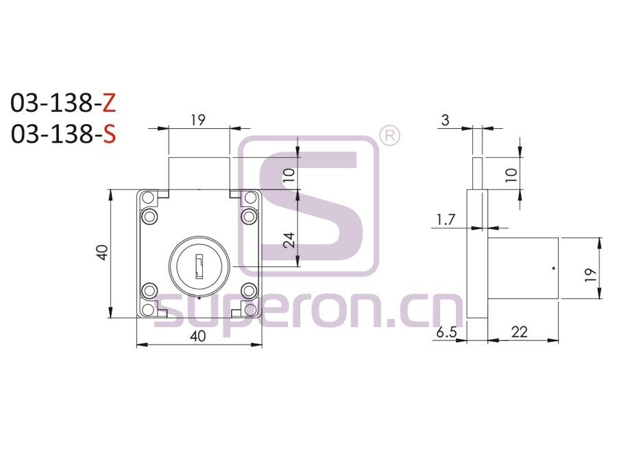 03-138-Z-q   Drawer lock #138