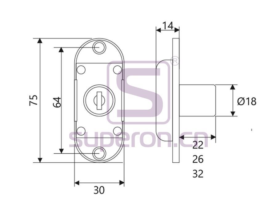 03-170-q   Rotating bar lock for two doors