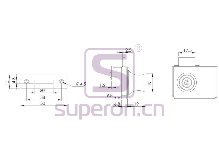 03-409-R-q   Glass Lock, #409