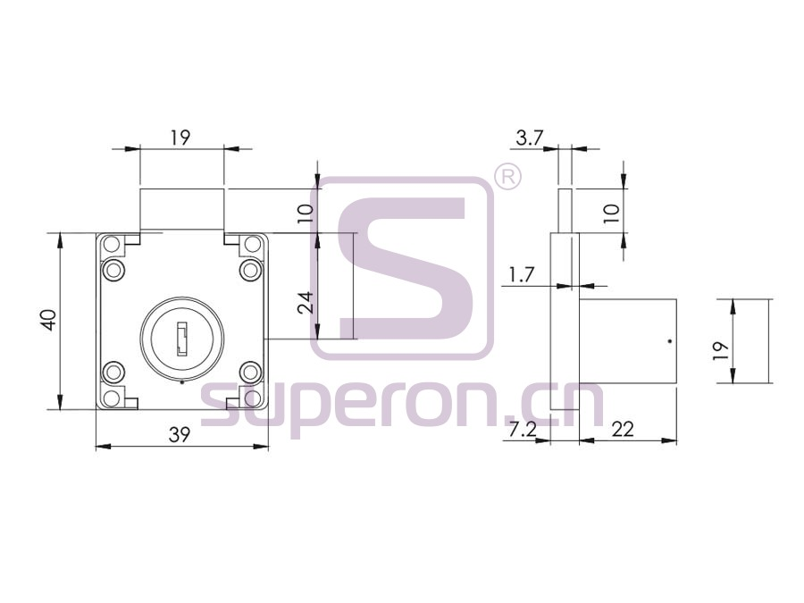 03-501-q | Drawer lock #138 with round key