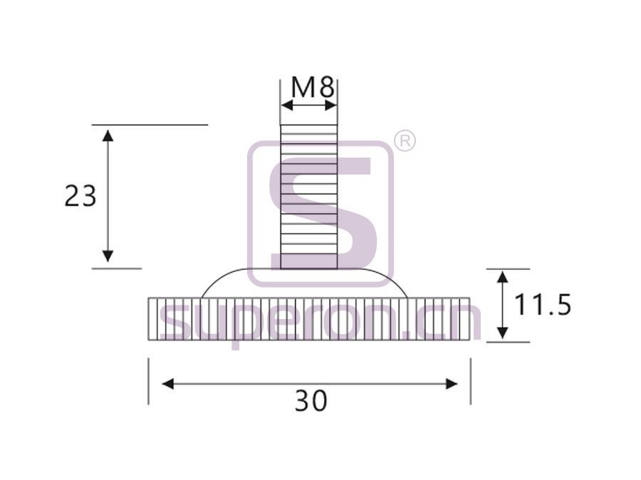 04-505-q | Plastic foot, d30/h12
