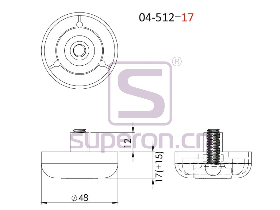 04-512-17-q   Plastic furniture adjustable foot