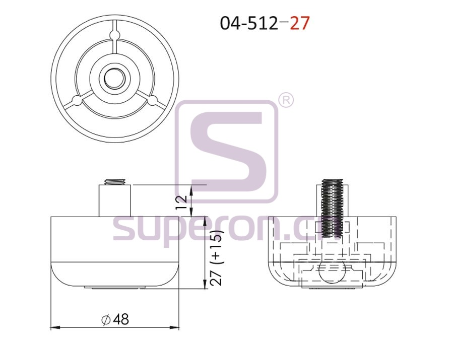 04-512-27-q   Plastic furniture adjustable foot