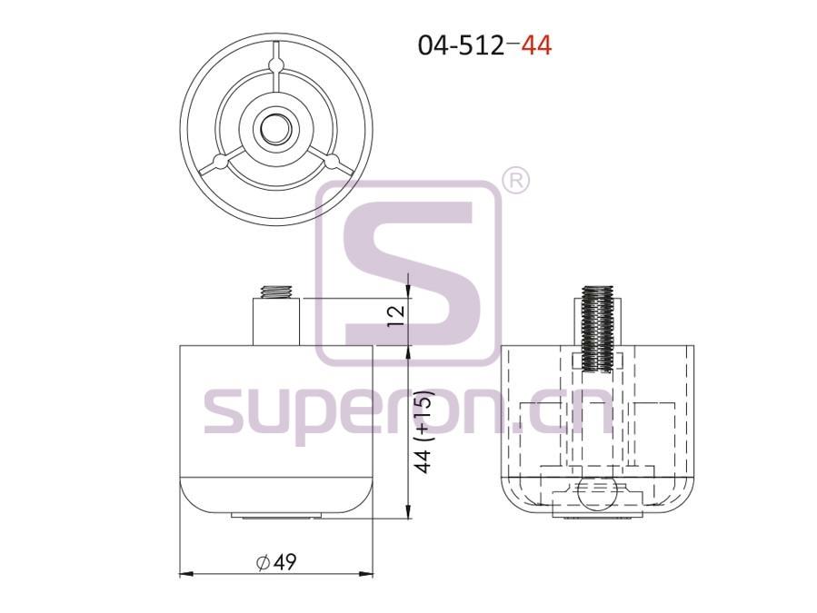 04-512-44-q   Plastic furniture adjustable foot