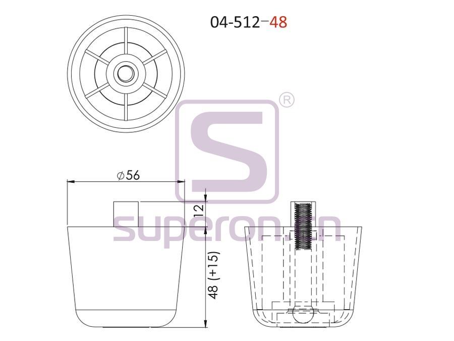 04-512-48-q   Plastic furniture adjustable foot