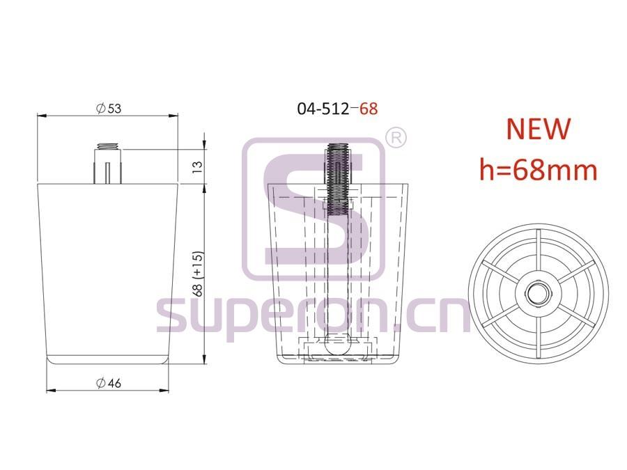 04-512-68-q   Plastic furniture adjustable foot