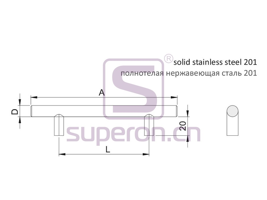 05-1001-q | Furniture handle, solid SS201